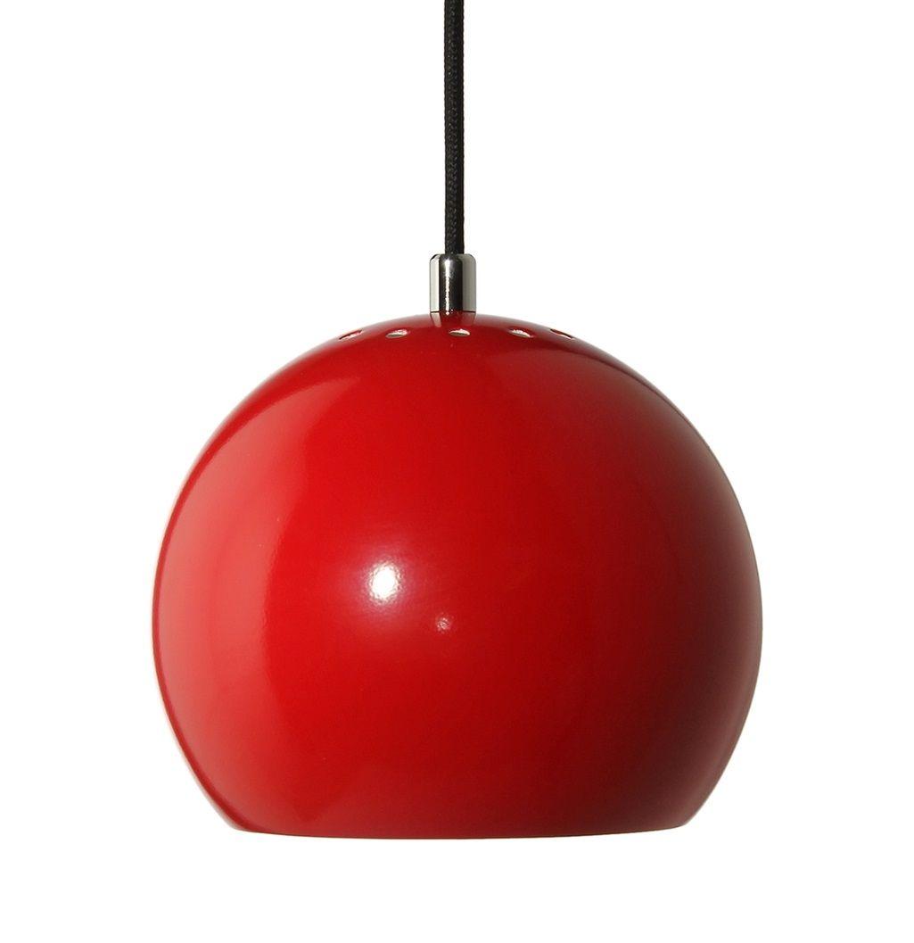 Stylowa lampa wisząca Ball - Frandsen Lighting - czerwona kula - połysk