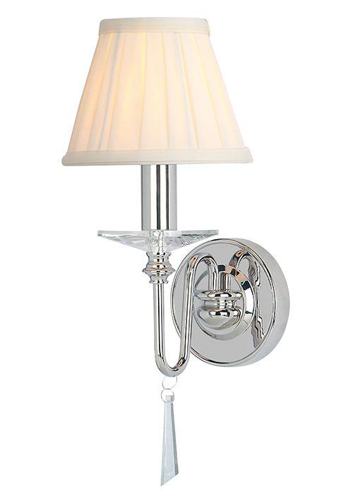 elegancki kinkiet w klasycznym stylu, dekoracyjny kryształ, lakierowany srebrny