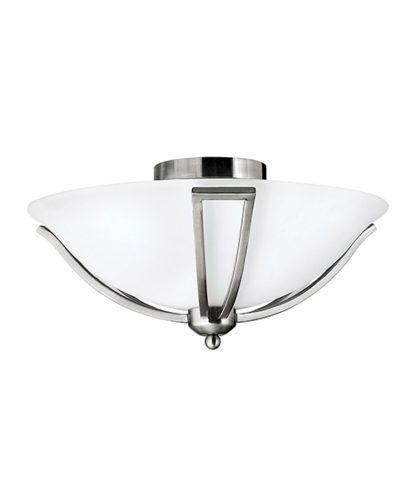 Stylowy plafon Perla - Ardant Decor - mleczne szkło, nikiel