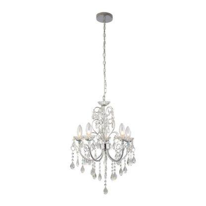 Stylowy żyrandol Tabitha - Endon Lighting - 5 żarówek - srebrny