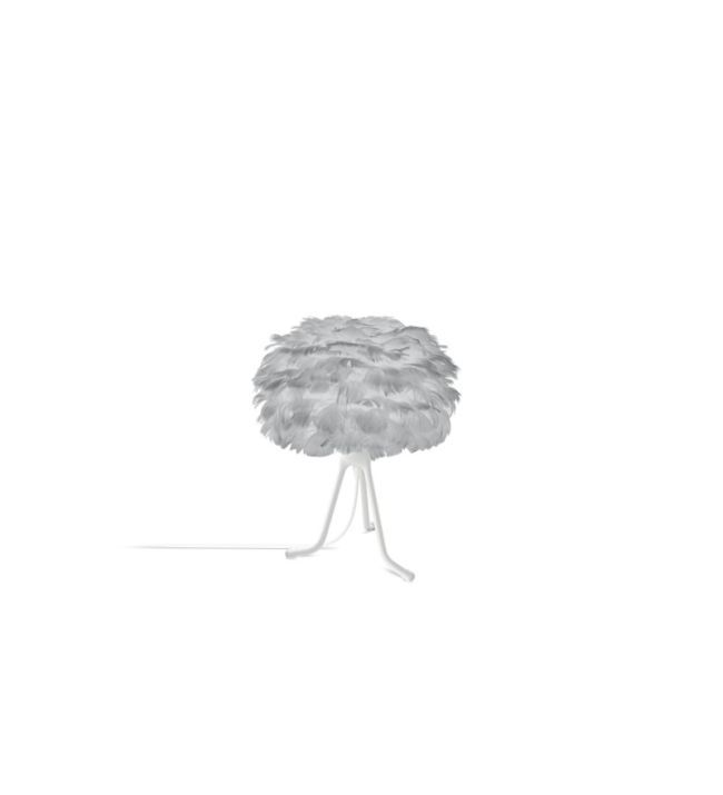 lampa stołowa z szarym kloszem i czarnym trójnogiem, styl nowoczesny skandynawski