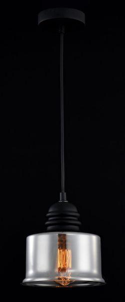 szklana lampa z siwym kolorze z żarówką