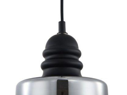 szklana lampa wisząca srebrna z czarnym