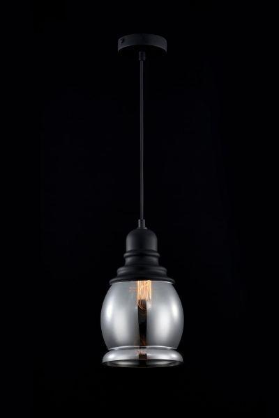 lampa wiszaca szklana szaro czarna