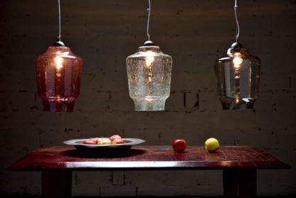 szklana lampa wisząca, transparentna, produkt z Polski - aranżacja