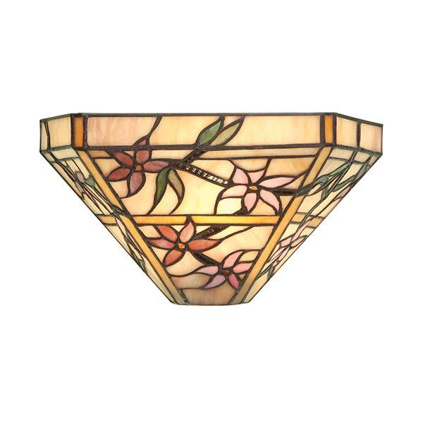 Szklany kinkiet Clematis - Interiors - beżowy, kwiaty