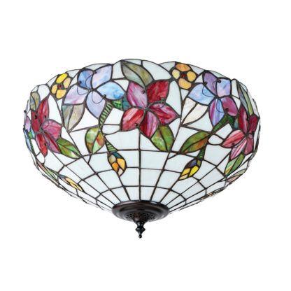lampa sufitowa szklana w kolorowe kwiaty