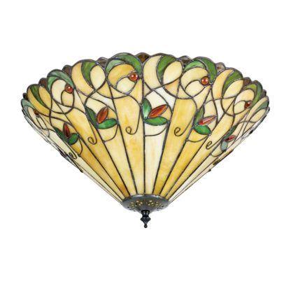 lampa sufitowa z barwionego kolorowego szkła tiffany