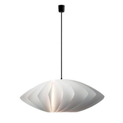 biała lampa z czarnym przewodem, nowoczesny styl, harmonijkowy abażur