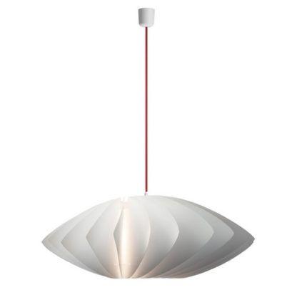 oryginalna lampa wisząca w skandynawskim stylu, biały klosz, czerwony przewód