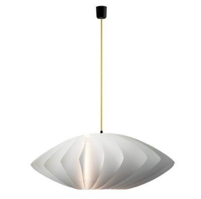 nowoczesna lampa wisząca w stylu skandynawskim, żółty kabel