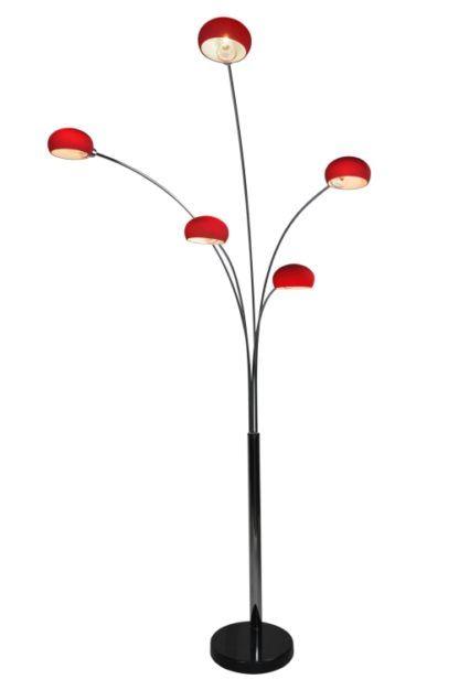 Lampa podłogowa - Venti chrom - Zuma Line - czerwona