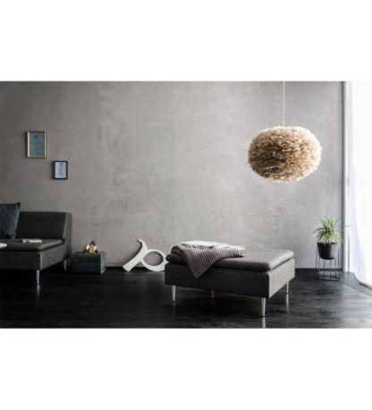 jasnoszara lampa wisząca w stylu nowoczesnym, białe zawieszenie - aranżacja szary, nowoczesny salon
