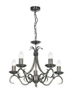 Żyrandol Bernice - Endon Lighting - 5 żarówek - srebrny