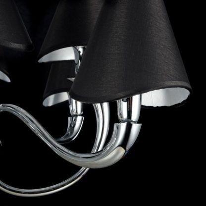 żyrandol chromowany z czarnymi pięknymi abażurami