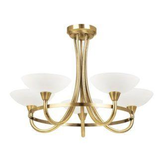 Żyrandol Cagney - Endon Lighting - 5 żarówek - złoty, szkło