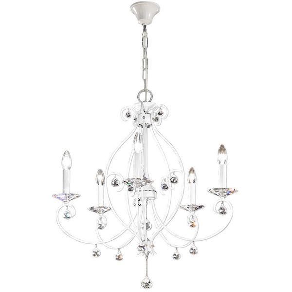 biały, klasyczny żyrandol w stylu pałacowym, dekoracyjne kryształki