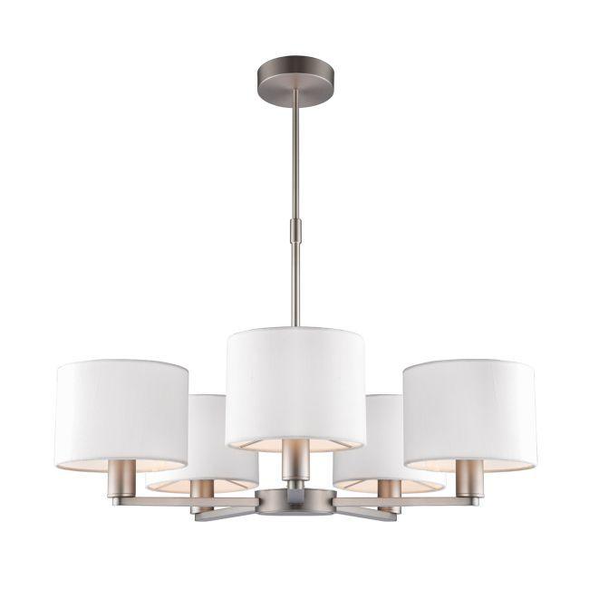 Żyrandol Daley - Endon Lighting - 5 żarówek - nikiel, białe abażury