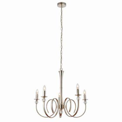 minimalistyczny żyrandol ze świeczkami w kolorze srebrnym