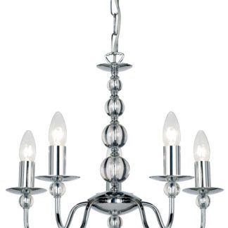 Żyrandol na 5 żarówek - Parkstone - Endon Lighting - srebrny