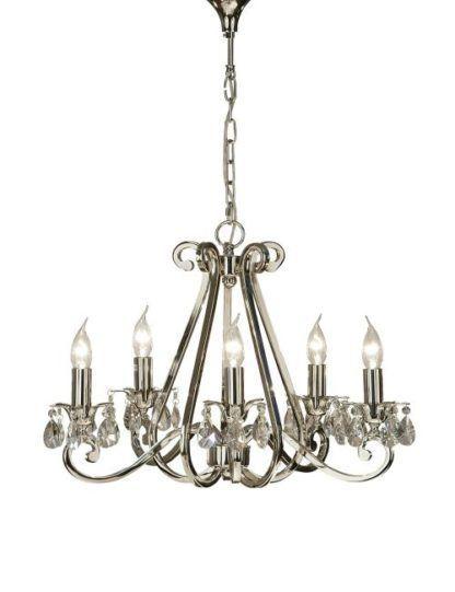 srebrny świecznikowy żyrandol z kryształami
