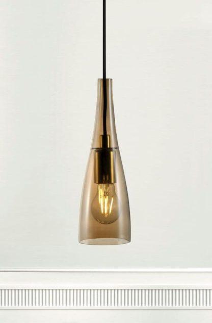 lampa wisząca z barwionego szkła, złota