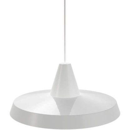 biała lampa wisząca, styl skandynawski