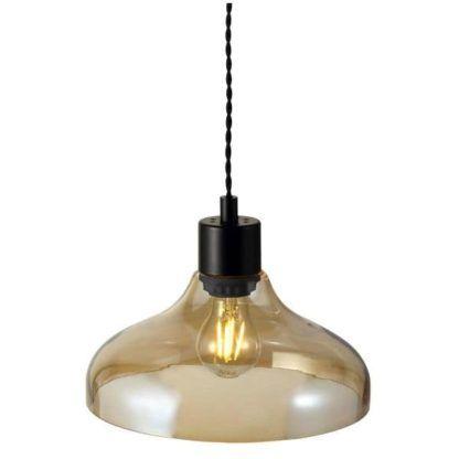 szklana lampa wisząca, złota, industrialna
