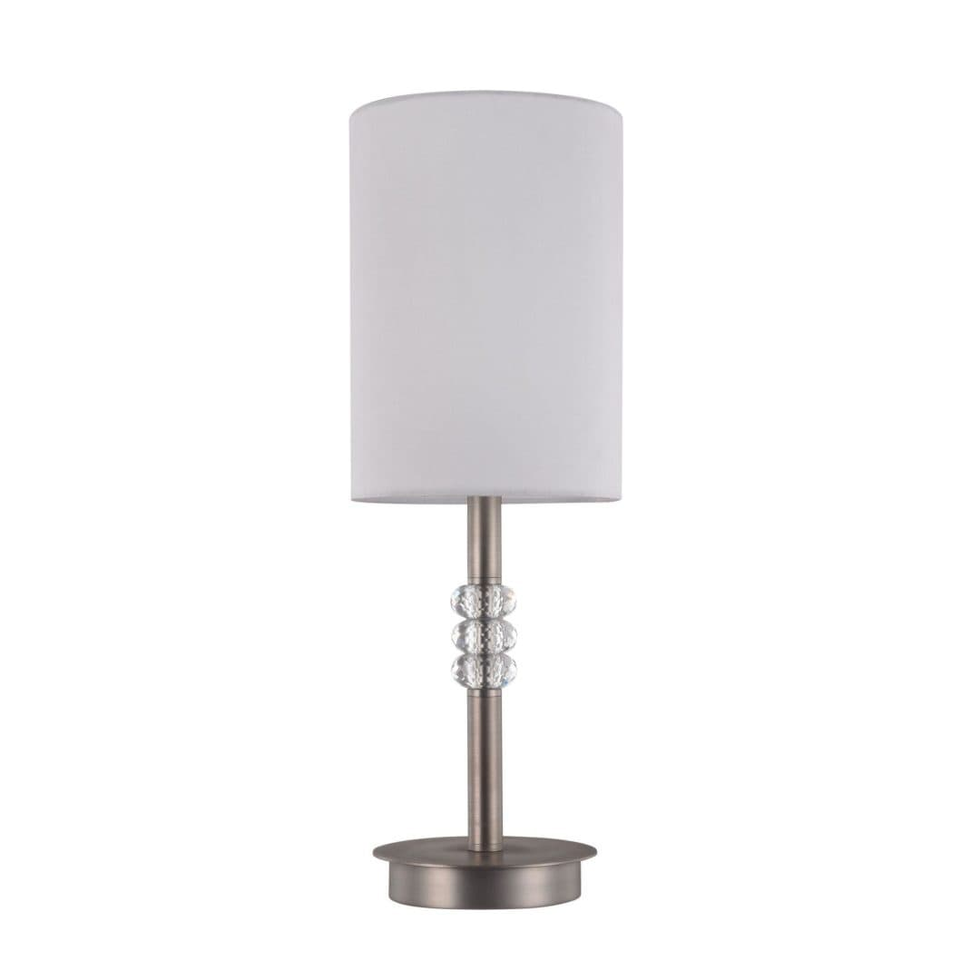 lampa stołowa z materiałowym abażurem