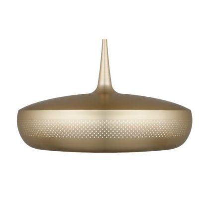 mosiężna lampa wisząca, płaski klosz, styl nowoczesny