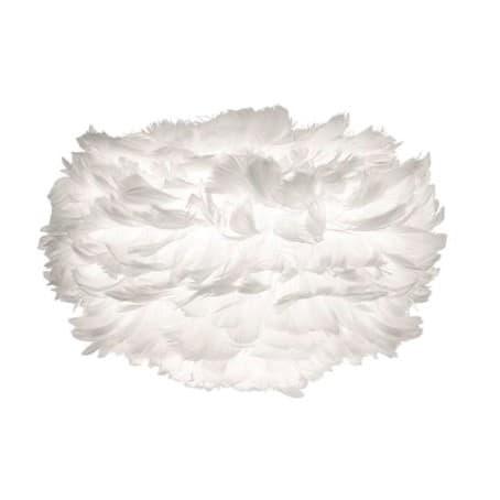 biała lampa z małym, białym kloszem, kula z naturalnych piór