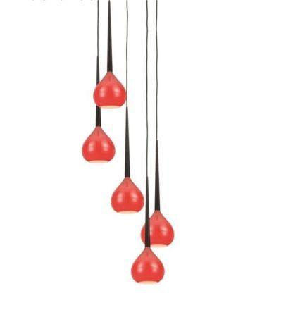 Lampa wisząca - Libra - Zuma Line - szklana, czerwona