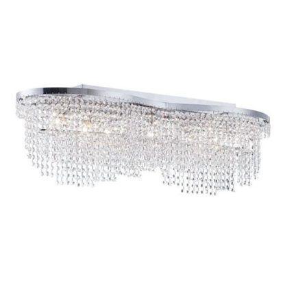 srebrna lampa sufitowa z kryształami, luksusowa